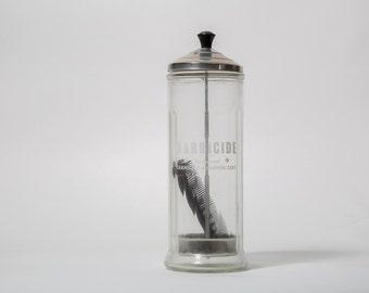 Vintage Barbicide Glass Jar Comb Holder Mid Century Barbershop 1960s