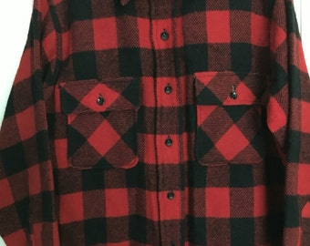 JCPenney Towncraft red/black buffalo plaid wool hunting shirt