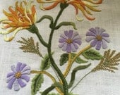 Crewel flowers on linen hand stitched for making pillows or seat cover ON SALE