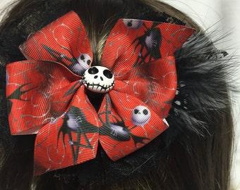 Red Jack Spooky Halloween Pinwheel Hair Bow