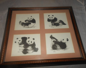 """Hsing Hsing,Ling Ling,Vintage signed panda print, framed behind matted glass,Warren Cutler,possibly original watercolor, 15"""" x 13"""" outside"""