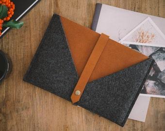"MacBook Case 12 Inch Retina Display, Sleeve MacBook 12 Inch, 12'' MacBook Case, ""Rough Edge"" - leather, wool felt"