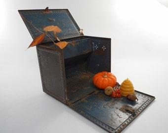 Vintage industrial metal box, metal storage container