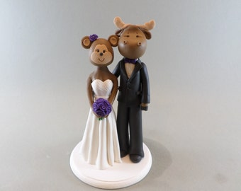 Cake Topper Personalized Monkey and Moose Wedding