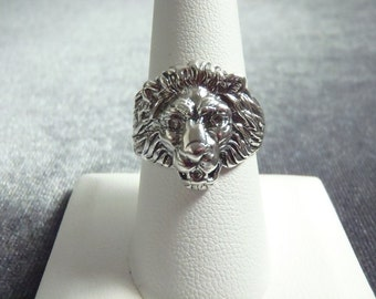 Sterling Silver Lion Head Ring Sz 8 1/2 R208