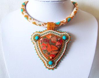 Bead Embroidery Statement Beadwork Pendant Necklace with Orange sea sediment jasper - BEAUTY SCUTUM - orange - turquoise - ivory - beige