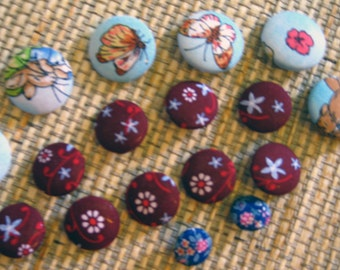 Fabric Covered Buttons, set of 17
