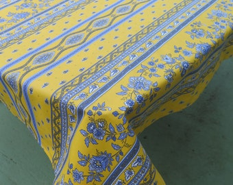 Square tablecloth ,stain resistant, water proof.  cotton coated . Fabric from Provence. petites fleurs in yellow up to 60'' by 60''