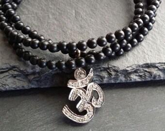 Yoga Diamond Ohm Wrap Bracelet, Diamond Om charm on Black onyx bracelet, triple wrap yoga jewelry, beachy, unisex layering zen gift ideas