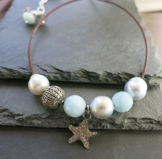 Tahitian And Southsea Pearl Leather Necklace Diamond Starfish