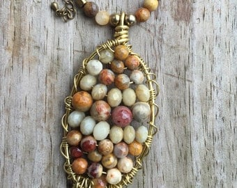 Wire wrapped beaded pendant necklace