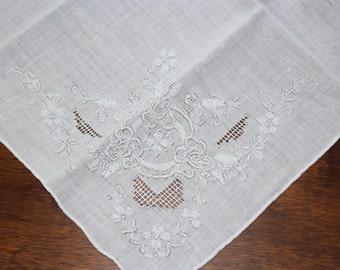 White Cotton & White Embroidered Flowers Corner Vintage Handkerchief - Wedding