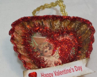 Valentines Tart Tin Ornament - Heart Shaped With Vintage Print/Tinsel