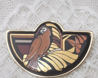 """SUMMER SALE Michaela Frey Team / Frey Wille Brown Parrot 24K Enamel Pin Brooch, """"Tropic Rosa"""" Collection, Designers Jewelry, Rare"""