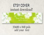ETSY Cover Photo, DIY Etsy Cover, Instant Download, Add Your Text, Natural Green Cover, Shop Cover, 3360 x 840, Download Cover, Cover Design