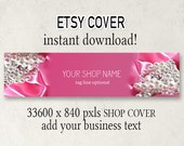 Etsy Cover, DIY Etsy Cover, Instant Download, Add Your Text, Pink Jewelry Shop Cover, Shop Cover, 3360 x 840, Download Cover, Cover Design