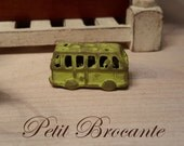 Vintage child, lime green school bus toy, dollhouse miniature, scale 1:12