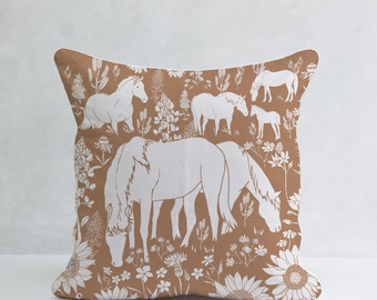 Brown Horses, Decorative Pillow, 100% cotton, Cushion Cover, Modern and Minimal, Throw Pillow
