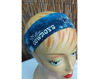 Dallas Cowboys Football Headband Cotton Nfl Fabric Blue