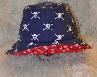 Newborn, baby, toddler or kids reversible skulls/nautical/sailor sun hat/bucket hat