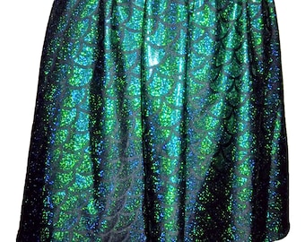 Mermaid Skater Skirt, Festival Clothes, Mermaid Skirt, Mermaid Scale Skirt, Mermaid Full Skirt, Mermaid Circle Skirt