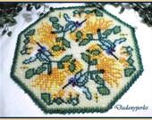 pattern bead weaving doily  humminbird and flower
