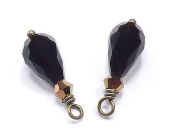 Black Faceted Drop Glass Charms, Black and Copper, Hand Wrapped Wirewrapped Bead Dangles (2)