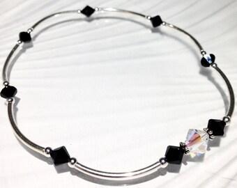 Stretch Anklet, Beaded Ankle Bracelet, Crystal Anklet, Swarovski Crystal Jewelry, Beaded Jewlery, Silver Anklet