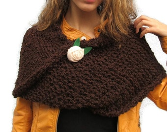 Capelet, Knit hands free infinity scarf, Knit Twist,Twisted Capelet, Knit moebius Scarf, VEGAN acrylic, Brown chocolate