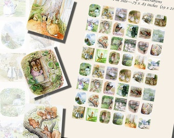 Beatrix Potter's Spring Printables, SCRABBLE TILE SIZE (.75 x .83 Inches or 19 x 21 mm), 36 Illustrations Included, 48 Total