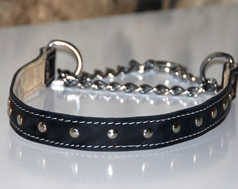 Martingale chain leather dog collar
