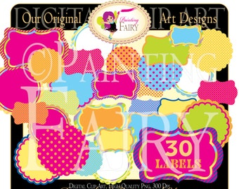 22 Digital Labels Scalloped Summer Rainbow Fun Clipart Embellishments Frames Scrapbooking Elements DIY images commercial use ok pf00016-21