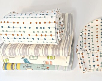 Organic Baby Receiving/Swaddle Blanket Cotton Interlock Knit- Burp Cloths-Hat- 5 Pieces Feather River by ModernBabyQuiltCo.