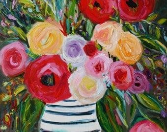 "Large Bold Abstract, Floral Still LIfe, Bright Bouquet, Ginger Jar, Flowers, Modern Still Life, 36"" x 36"", Original Canvas ""Lauren"""