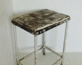Vintage White Painted Metal Wood Top Stool Garden Stand Table Shabby