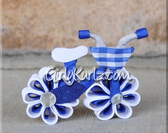 BLUE Bicycle Hair Bow Bicycle Hair Clip Ribbon Sculpture Bike Bow