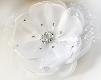 Lace Flower Hair Clip, Floral Wedding Hair Clip, Bridal Hair Accessory, Floral Hair Clip, Rhinestone Flower Hair Accessory, TC-2219
