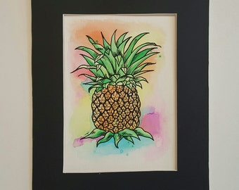 Matted Watercolor Pineapple print