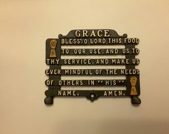 Vintage Antique 1960 black iron trivet Grace bless oh lord this food to our use and us to thy service and make us ever mindful of the needs