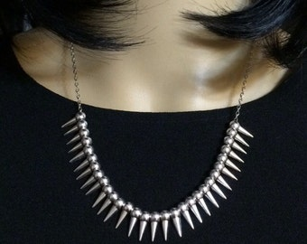 Silver SPIKE necklace Floating Sliding Sliver Spikes  Small Spikes Necklace Spike Bib Necklace Spike Tribal Necklace Silver Spike Jewelry