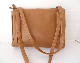 Camel Brown Leather Saddle Bag, Pebble Leather Bag, Double Strap, Brown Shoulder bag