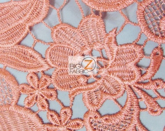 Carnation Embossed 3D Floral Guipure Dress Lace Fabric - CORAL - Sold By Yard Gown