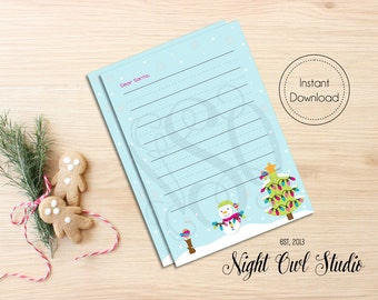 Santa Letter Template--Letter To Santa, Christmas Wishlist-- Printable Template--INSTANT DOWNLOAD
