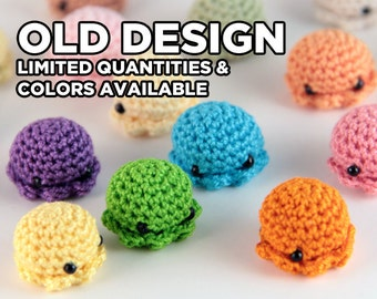OLD DESIGN MiniPus (Solid Colors) - Miniature Octopus Amigurumi Doll Plush with Optional Key Chain or Phone Charm Attachment