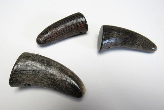 Buffalo Horn Pendant 2 Inch Necklace Focal Variegated Bone