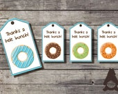 "Donut & Pajama Party Thank You Hang Tags, birthday party, party favor, blue + cocoa theme, 4 designs. 2 x 3-1/2"" each. INSTANT DOWNLOAD"