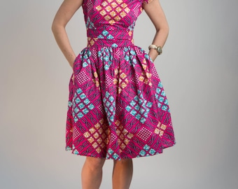 High Waist Pink African Wax Print Skirt