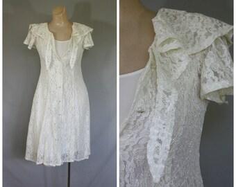Lace Mini Dress / Ivory Mini Dress / Vintage Easter Dress / Flutter Sleeve Dress / Corset Tie Dress / 1980s Beach Wedding Dress  S