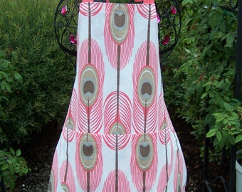 Trendy Coral Feather Design Baker-Style Apron