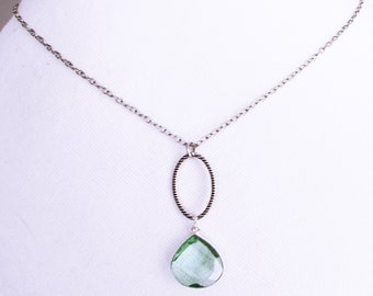 Elegant silver artisan handmade aqua green stone necklace, silver oval with aqua faceted stone charm necklace, best birthday jewelry gift